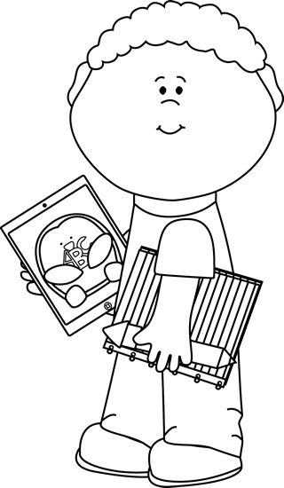 transparent library Black and White Kid with School Supplies and Tablet