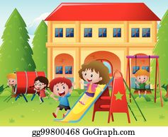picture transparent download Playground clip art royalty. Kids playing at school clipart
