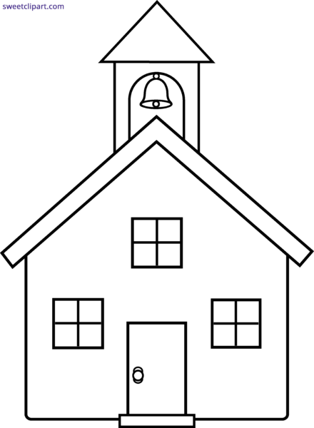 vector Neighborhood clipart black and white. School house silhouette at