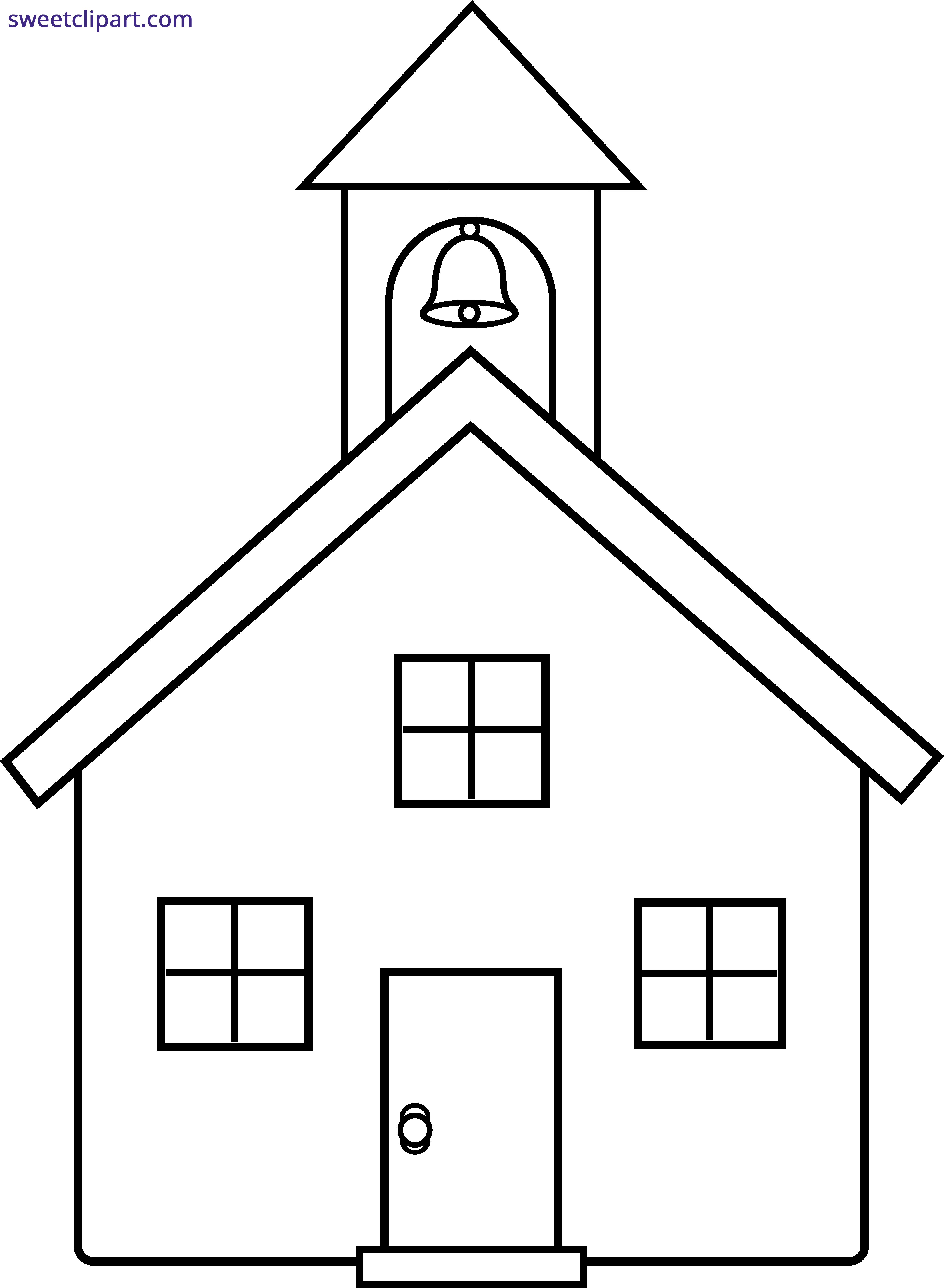 clip free download School House Line Art Clipart