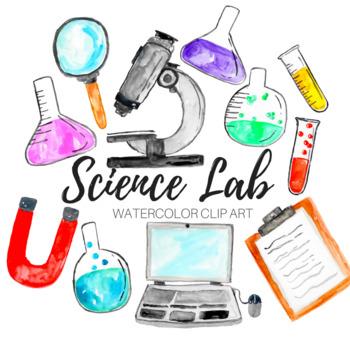 clip transparent stock Science lab clipart. Watercolor clip art set