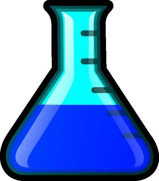 vector Blue flask clip art. Beaker transparent cartoon science