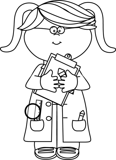 banner download Girl scientist with a. Science clipart black and white