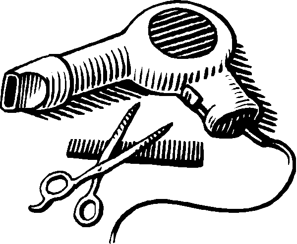 royalty free stock Comb and Scissor Clipart