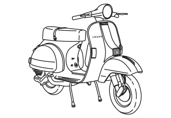 graphic black and white stock Vespa Scooter Wall Decal