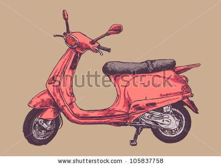 clip black and white stock retro scooter drawing style vector illustration