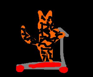 clip library stock Tiger rides a razor scooter