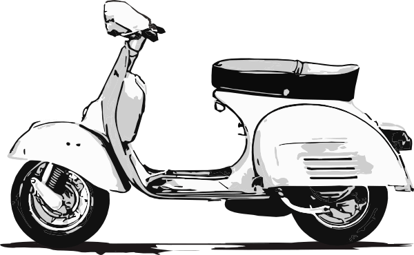 png black and white Scooter Vespa Drawing transparent PNG