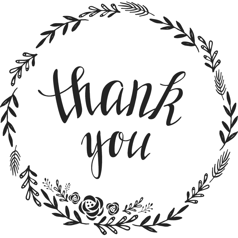 png library stock Floral Script Thank You Stamp