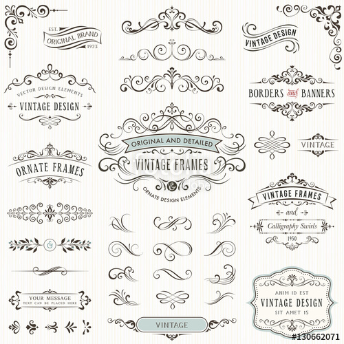 clip art black and white library Ornate vintage design elements with calligraphy swirls