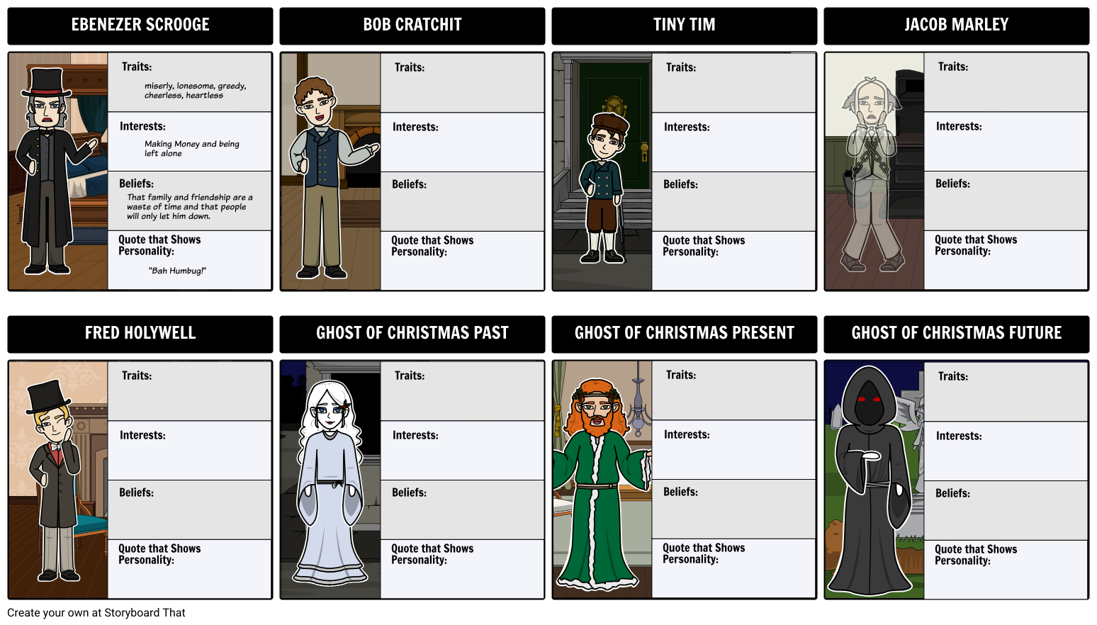 clip art transparent A Christmas Carol Characters Storyboard by beckyharvey