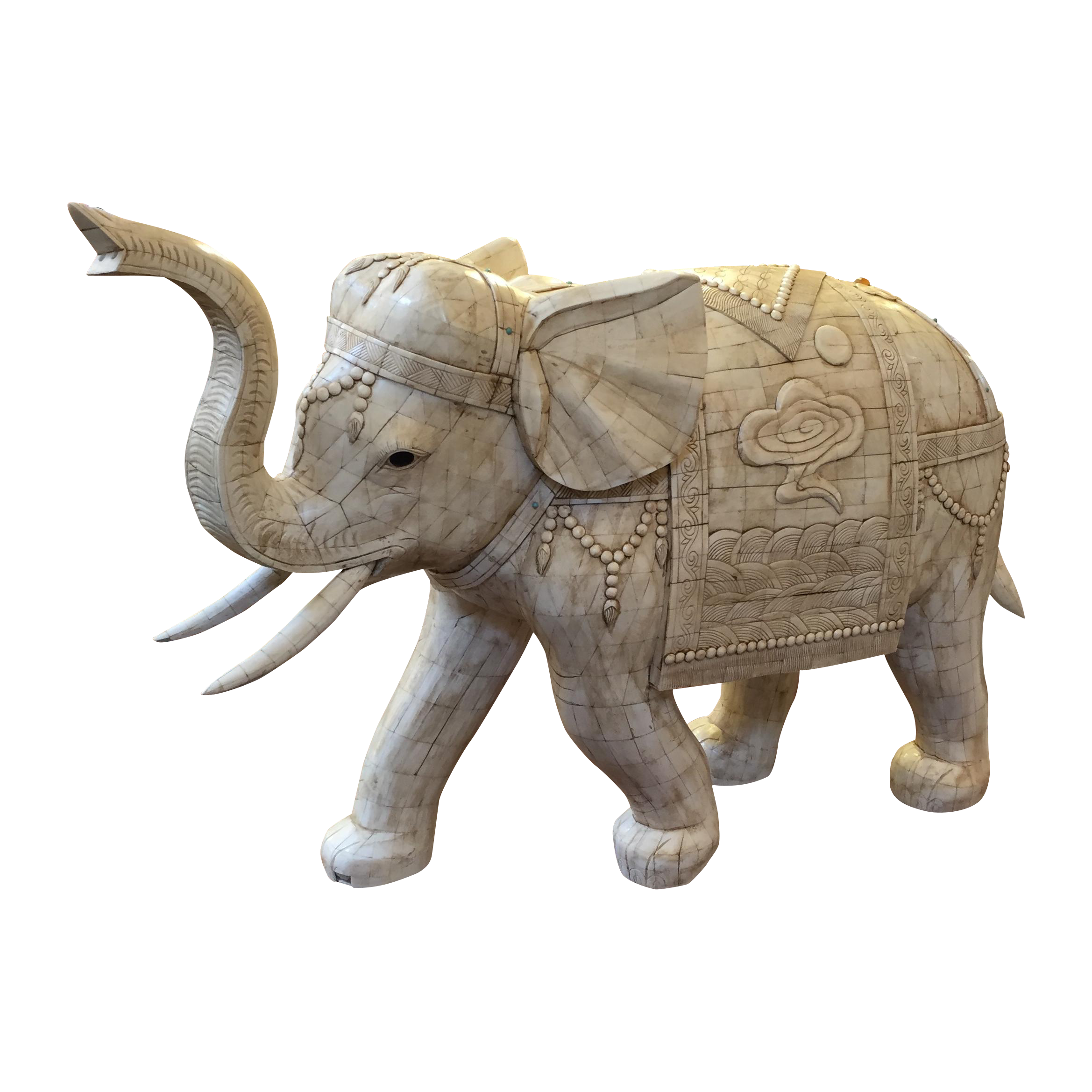 picture library Unique Bone Mosaic Elephant Sculpture