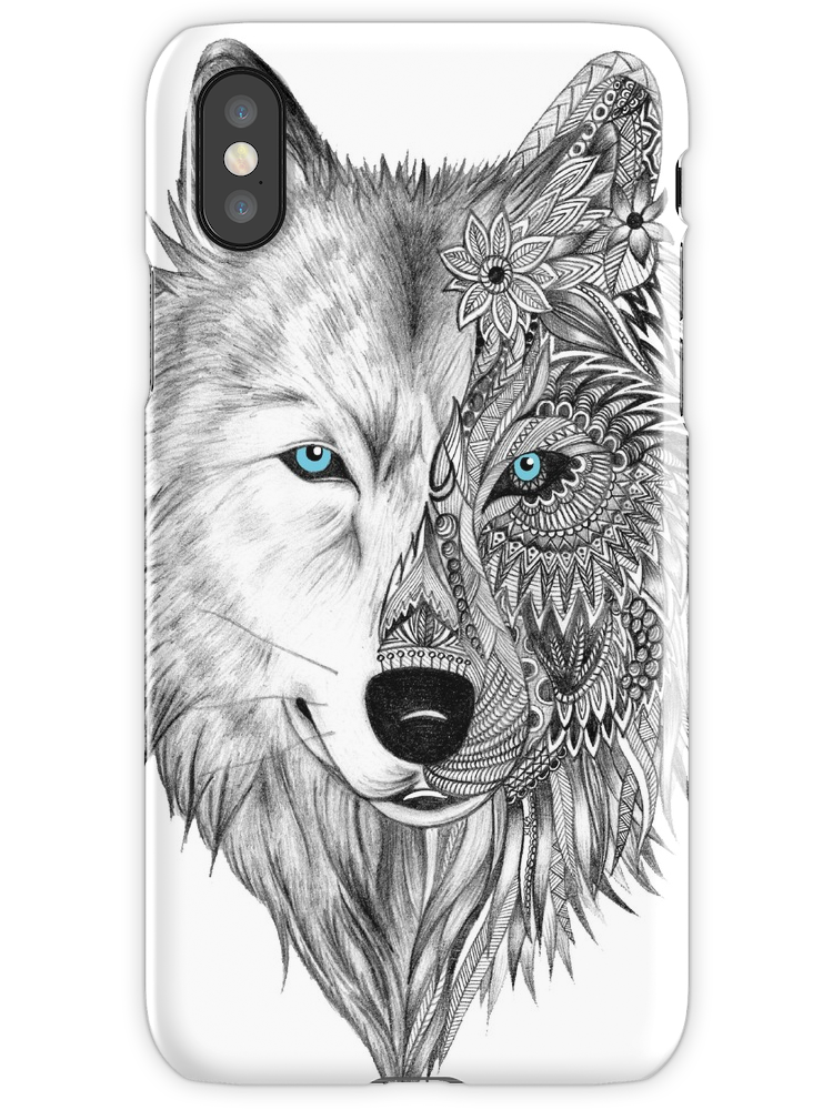 vector royalty free stock The White Wolf iPhone X Snap Case