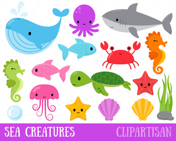 jpg library library Animals clip art ocean. Sea animal clipart