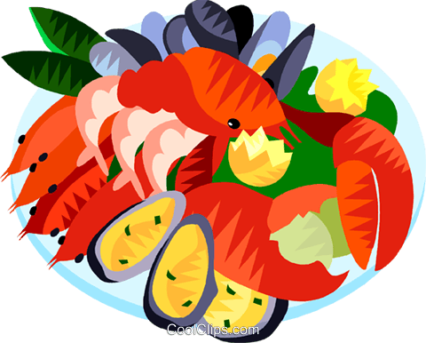 vector library stock Sea foods free on. Seafood clipart
