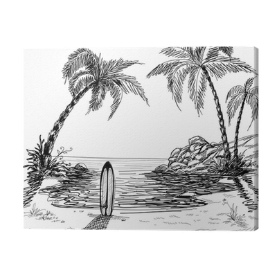 image library download Seascape drawing with palm trees and surfboard Canvas Print
