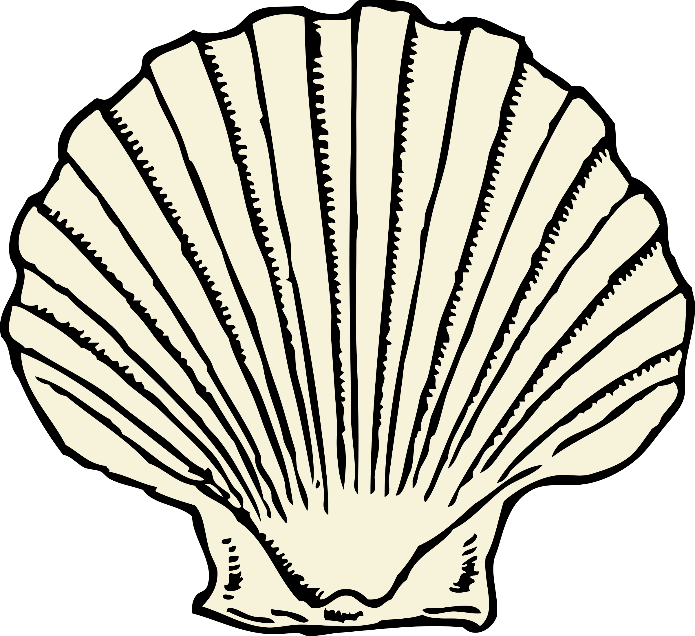 clip library stock Scallop shell by johnny. Oyster vector outline