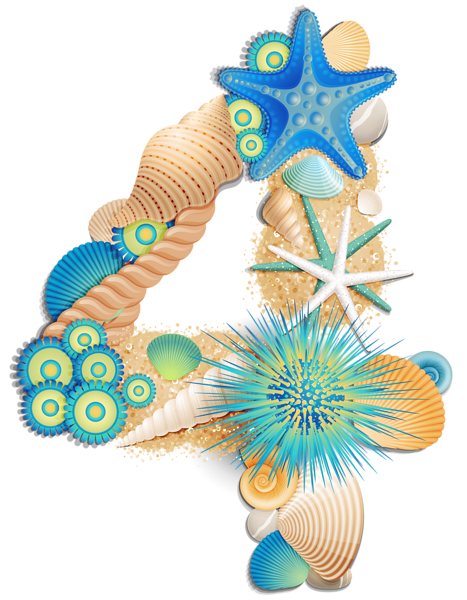 image stock Clam clipart small seashell. Transparent number four sea.