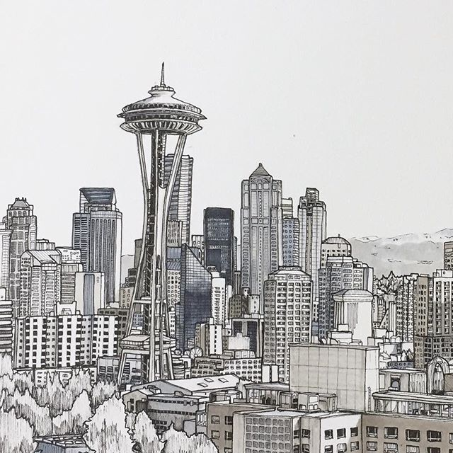picture transparent library Seattle drawing. Art pen sketch illustration.