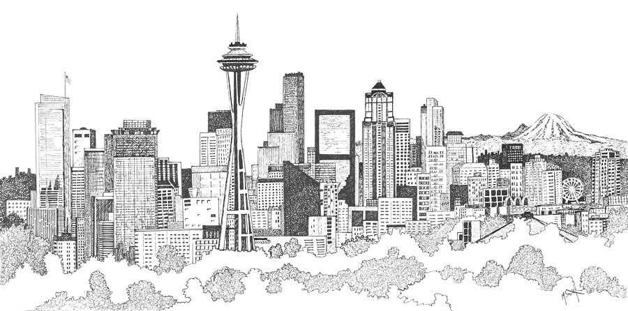 image black and white download Seattle drawing. Skyline ink .