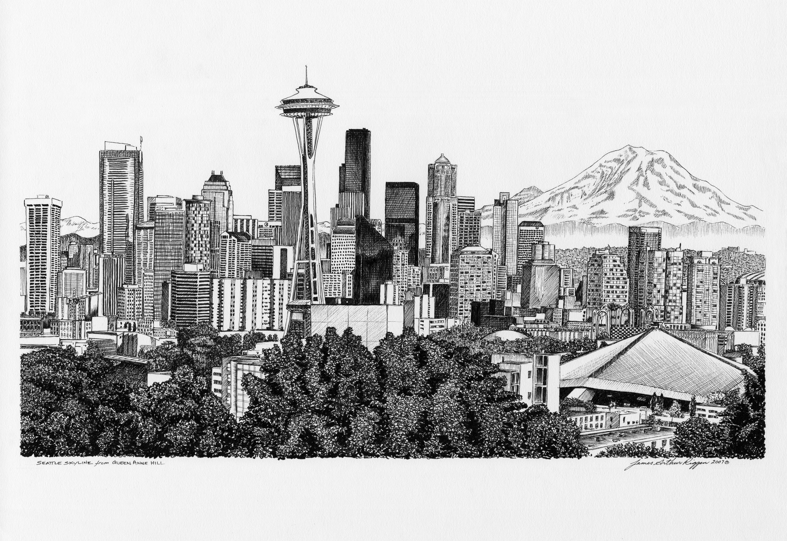 clipart royalty free library Seattle drawing. Arty in skyline tattoo.