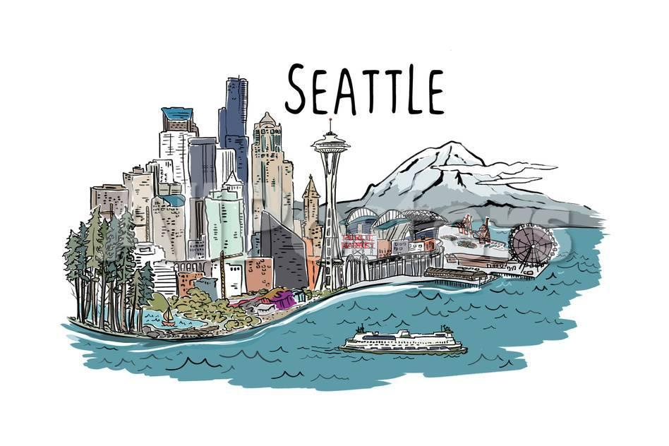 png download Washington cityscape line . Seattle drawing.