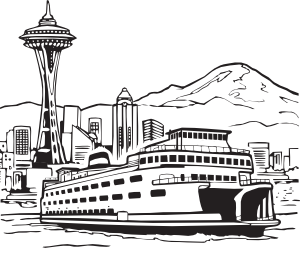 freeuse library Space Needle And Ferry Clip Art