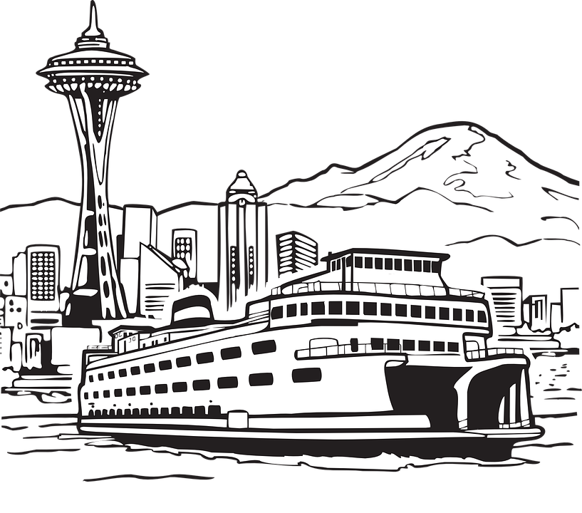 vector transparent stock Waterfront . Seattle drawing.