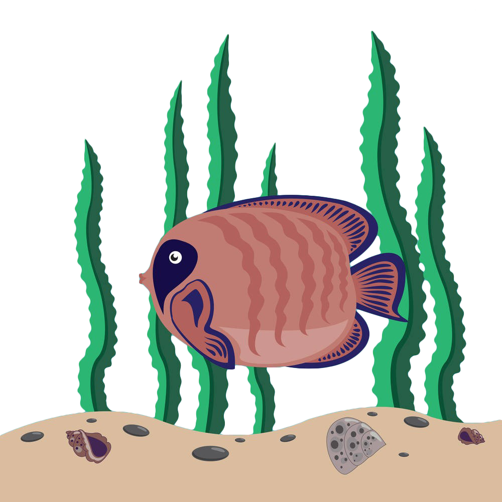 clipart black and white library Seaweed Algae Fish