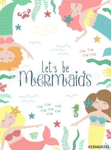 clip art library stock Vector image of cute little mermaids