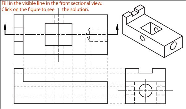 graphic black and white stock Exercise full section. Sectional drawing.