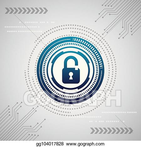 vector freeuse Security clipart digital security. Vector stock cyber illustration
