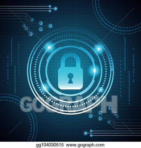 vector freeuse Vector stock cyber illustration. Security clipart digital security