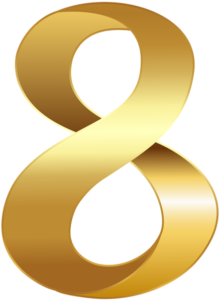 banner library Golden Number Eight Transparent PNG Clip Art Image