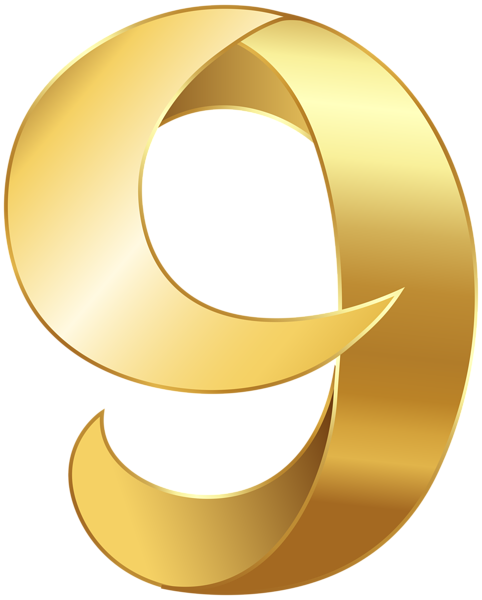 graphic free library Golden nine transparent png. 6 clipart gold number