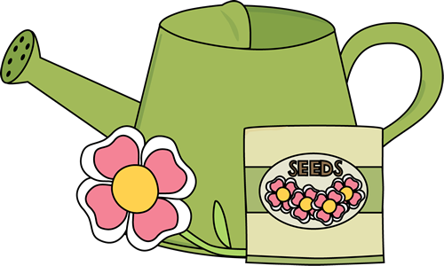 svg freeuse download Watering Can with a Flower and Seed Packet