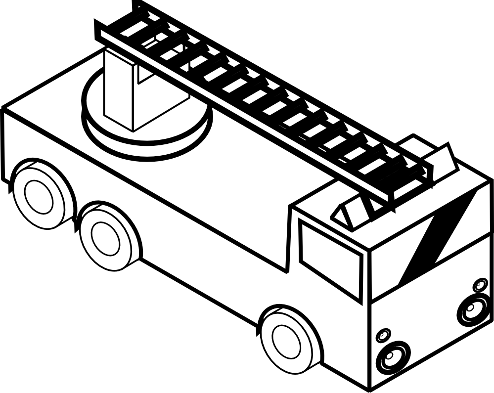 png transparent download Fire engine clipart black and white. Semi truck line drawing