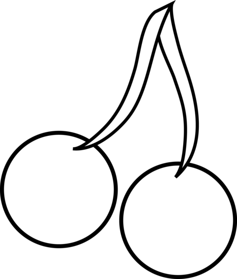 clipart black and white Senses clipart coloring page. Two cherries line art