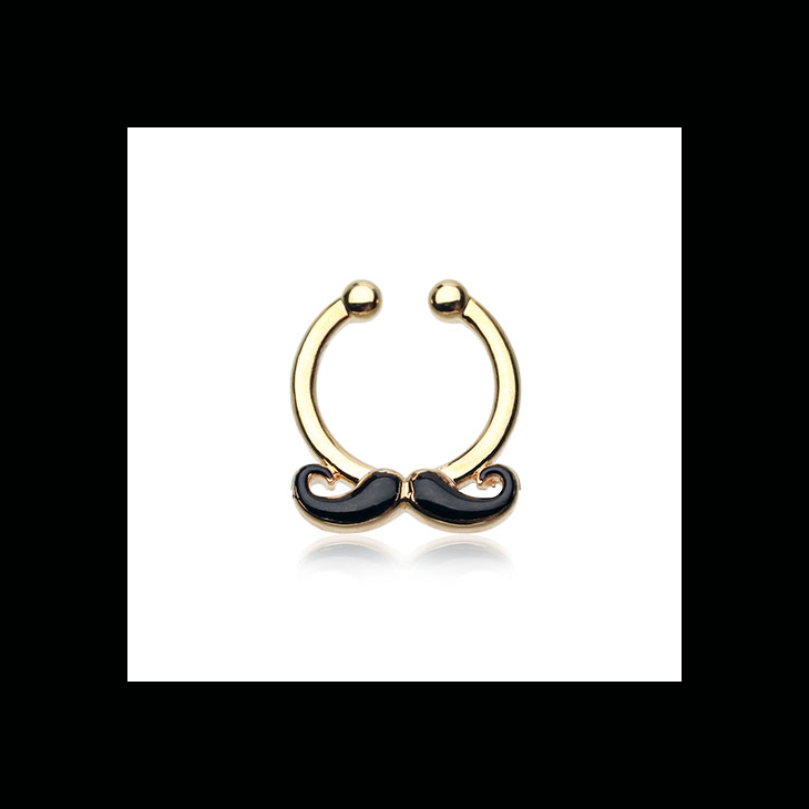 clip art freeuse download FreshTrends Golden Classic Mustache Fake Septum Clip