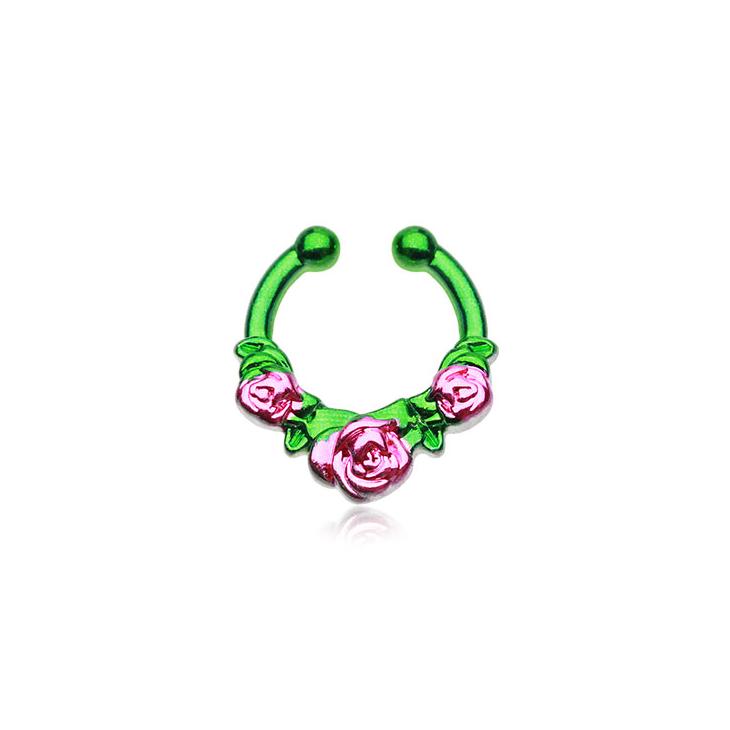 png freeuse stock FreshTrends Green Rose Garden Fake Septum Clip