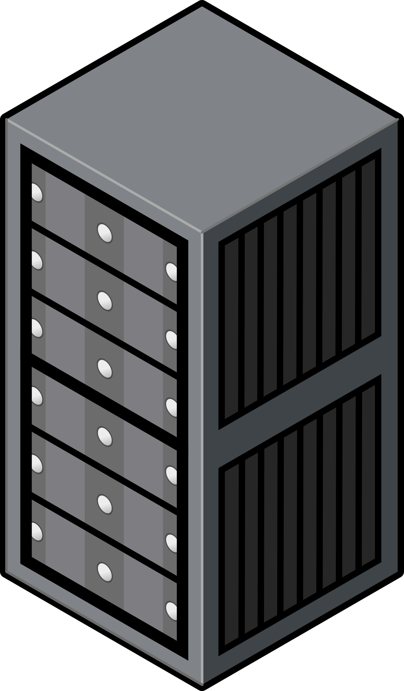 jpg freeuse library Isometric cabinet big image. Server clipart black and white