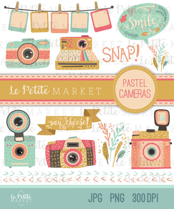vector Set clipart camera. Digital illustration pastel