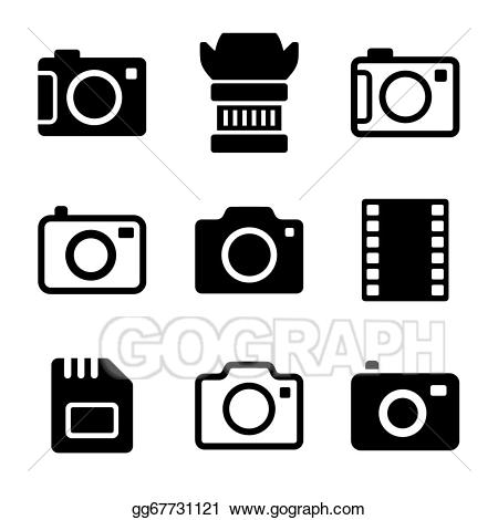 black and white Set clipart camera. Eps vector photo and
