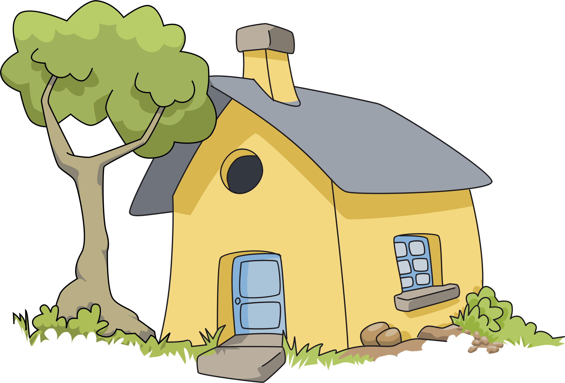clip freeuse download House of tree icons. Setting clipart village