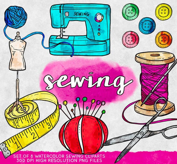 png freeuse Sewing clipart. Commercial use watercolor clip.