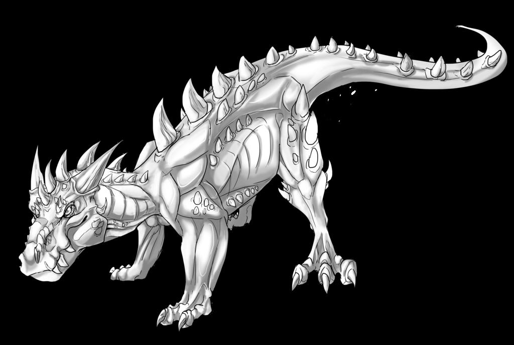 clip art Big Land Dragon Lineart