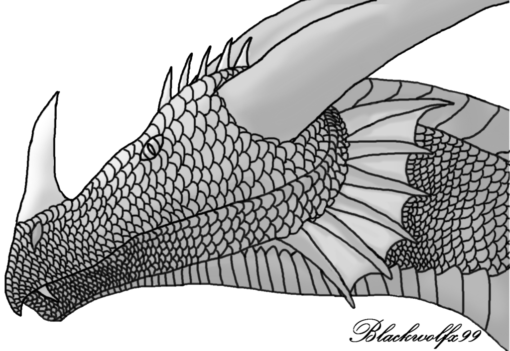 picture stock Shaded drawing. Free dragon lineart by