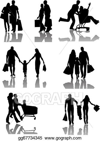 svg library Family shopping silhouettes with. Shadow vector art.