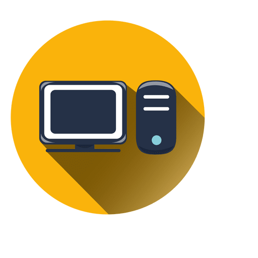 vector free download Circle icon with drop. Vector computer yellow