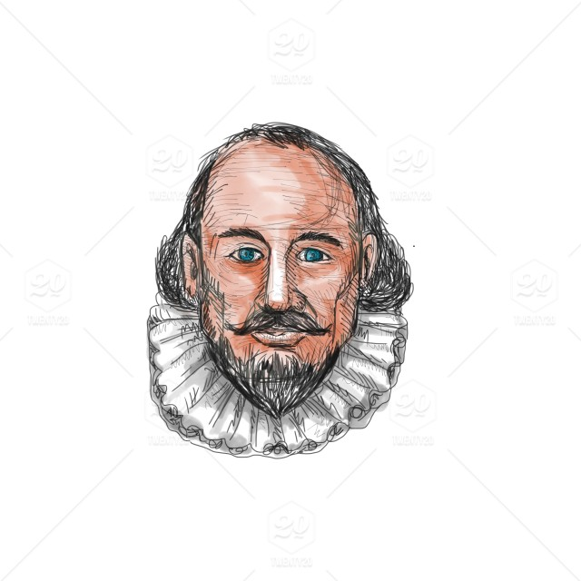 png royalty free stock Watercolor style illustration of William Shakespeare head set